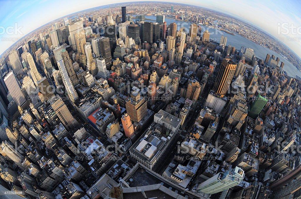 New York City Aerial fisheye view stock photo