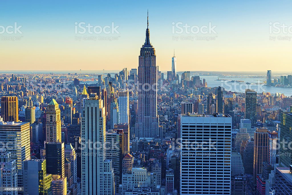 New York City Aerial Skyline at Dusk, USA stock photo