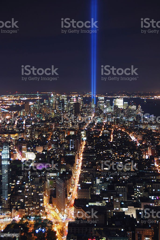 New York City aerial view at night royalty-free stock photo
