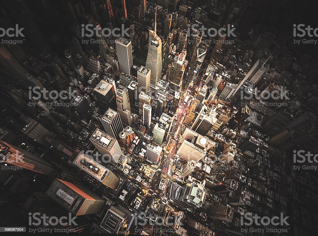 new york city aerial view of the downtown stock photo