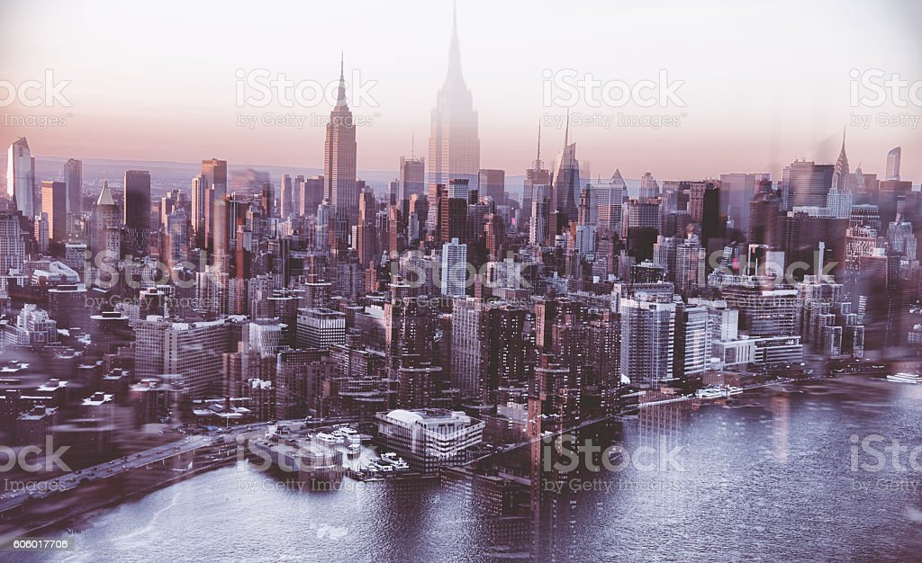 New York City aerial view skyline of empire state building stock photo