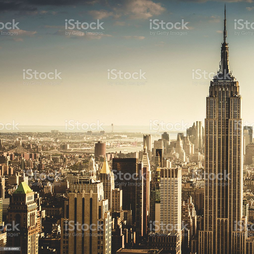 New York City aerial view skyline stock photo