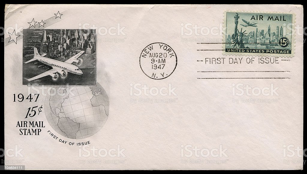 New York City Air Mail Cover royalty-free stock photo