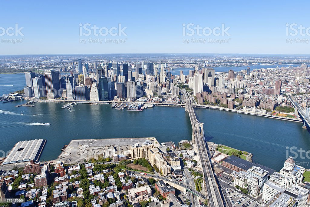 new york city and east river aerial royalty-free stock photo