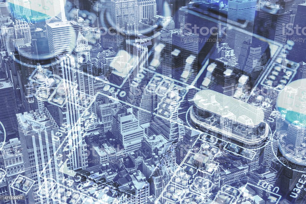 New York City and the Computer motherboard collage stock photo