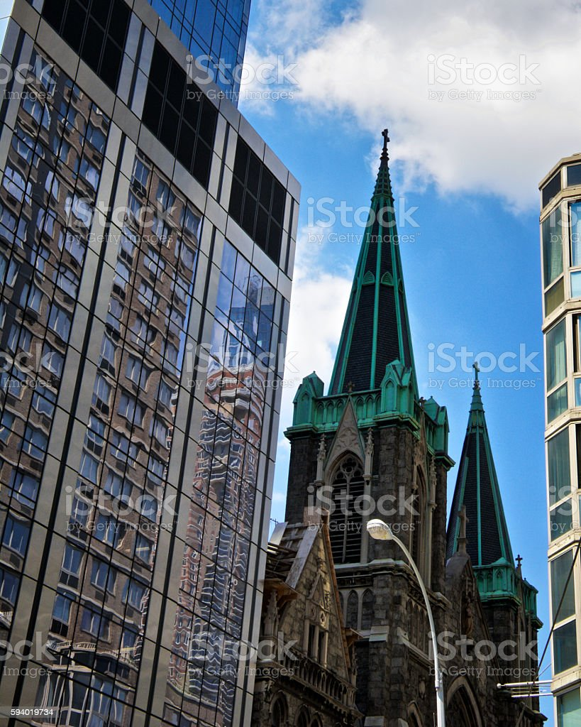 New York City, Architectural contrasts, 20th & 21st Century Manhattan stock photo