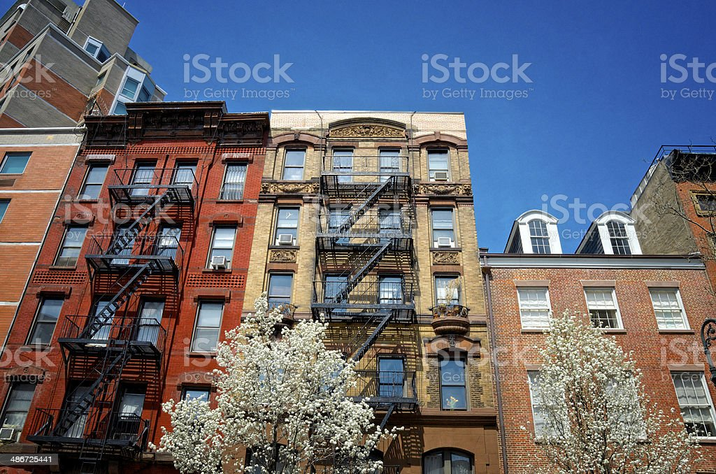 New York City, Architectural contrasts cityscape, Greenwich Village Manhattan stock photo