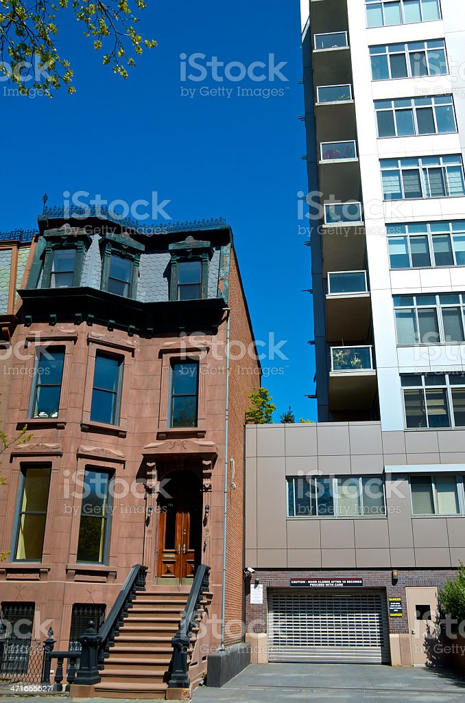 New York City Architectural eras in contrast, Brooklyn cityscape royalty-free stock photo