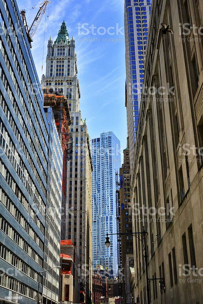 New York City, Architectural eras, styles contrasts cityscape, Lower Manhattan royalty-free stock photo