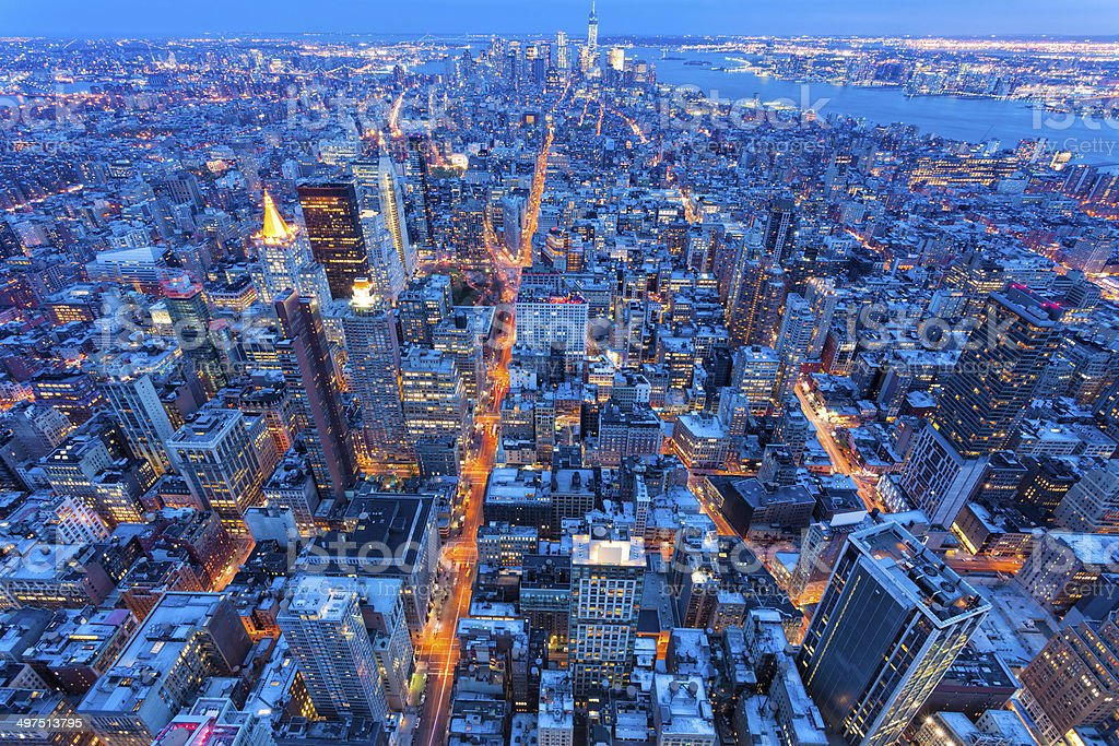 New York City at Night, Aerial View stock photo