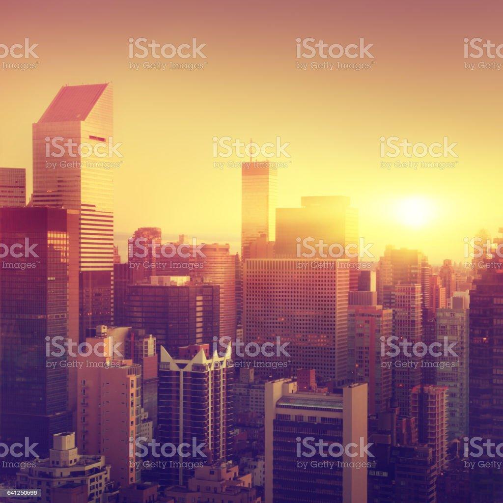 New York City at sunrise. stock photo