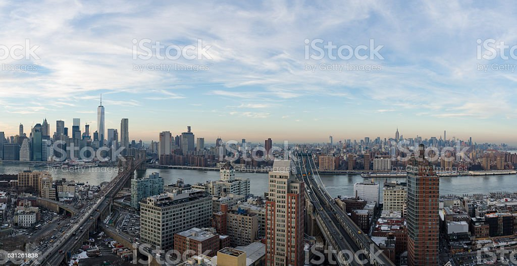 New York City At Sunset From DUMBO stock photo