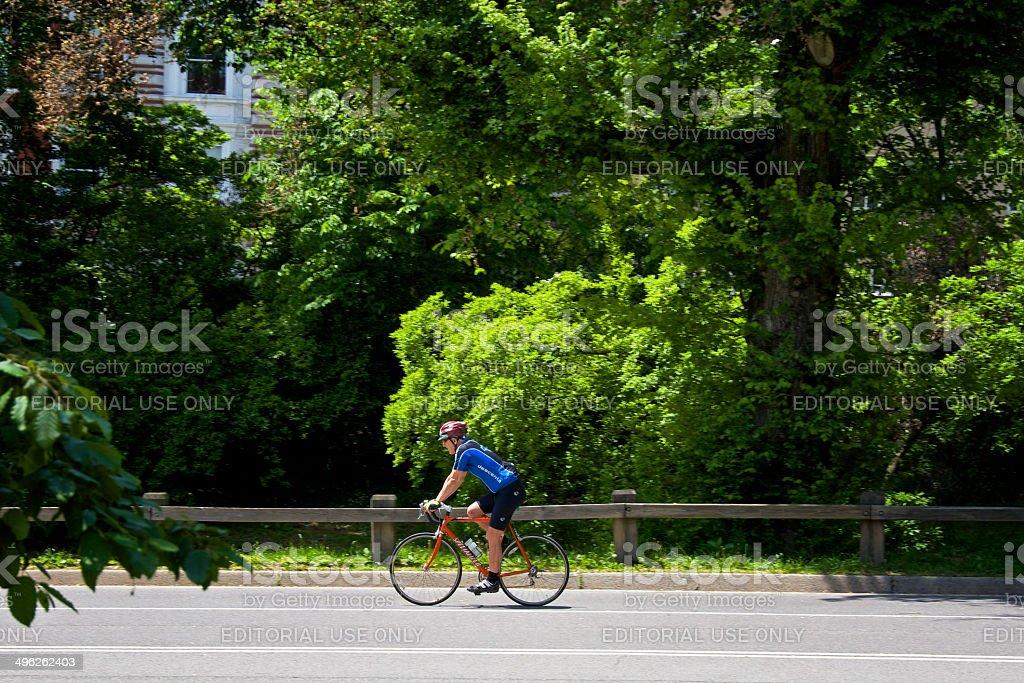 New York City Bicyclist, Central Park, Manhattan royalty-free stock photo