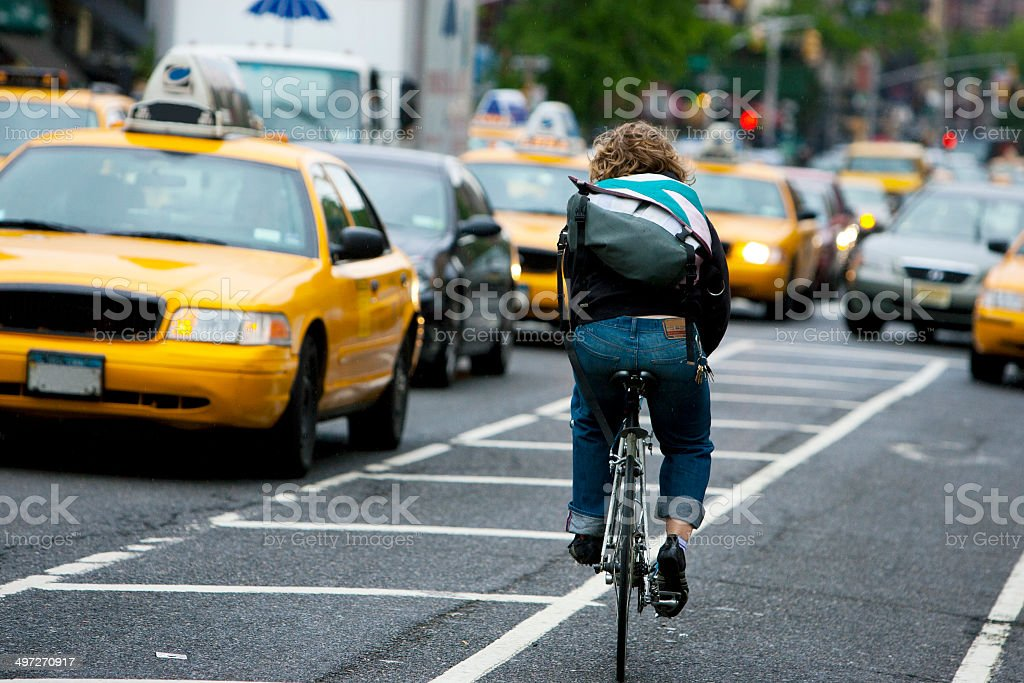 New York City Bike Courier stock photo