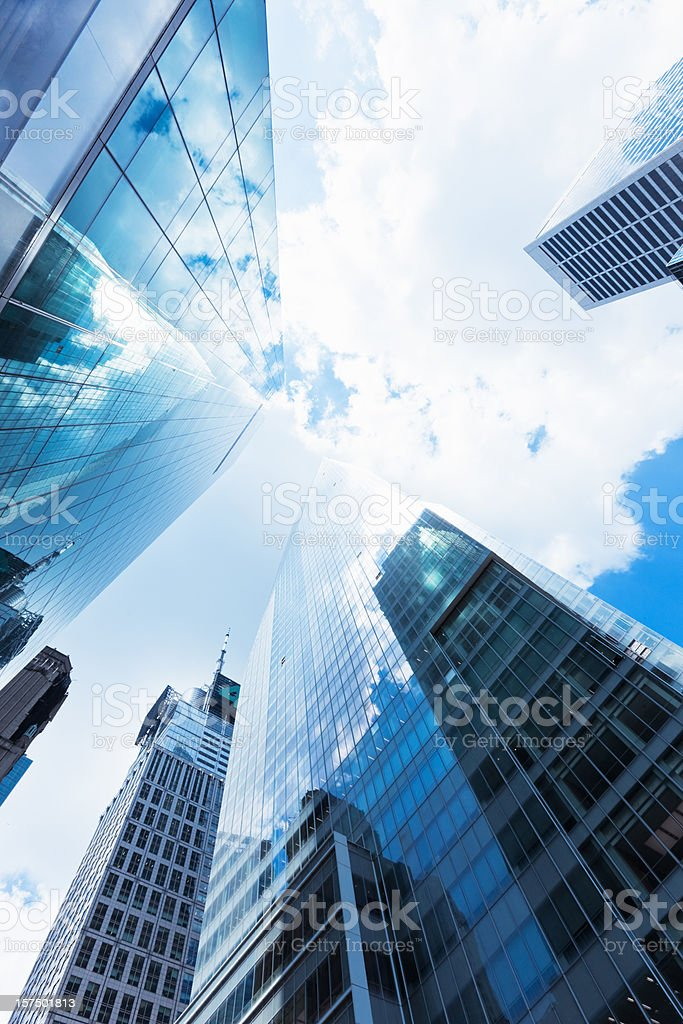 New York City Blue Manhattan Skyscapers stock photo