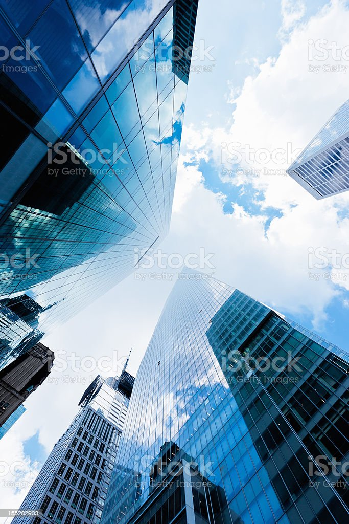 New York City Blue Manhattan Skyscapers Wall Street Financial District royalty-free stock photo