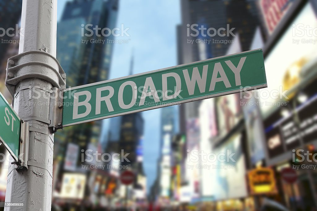 New York City Broadway lights stock photo