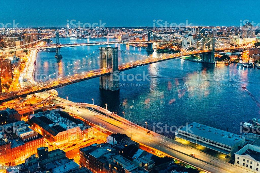 New York City Brooklyn Bridge and Manhattan Bridge Aerial view stock photo