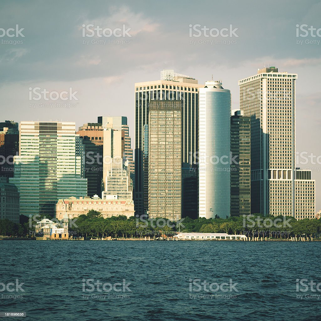 New york city building on the downtown from river royalty-free stock photo
