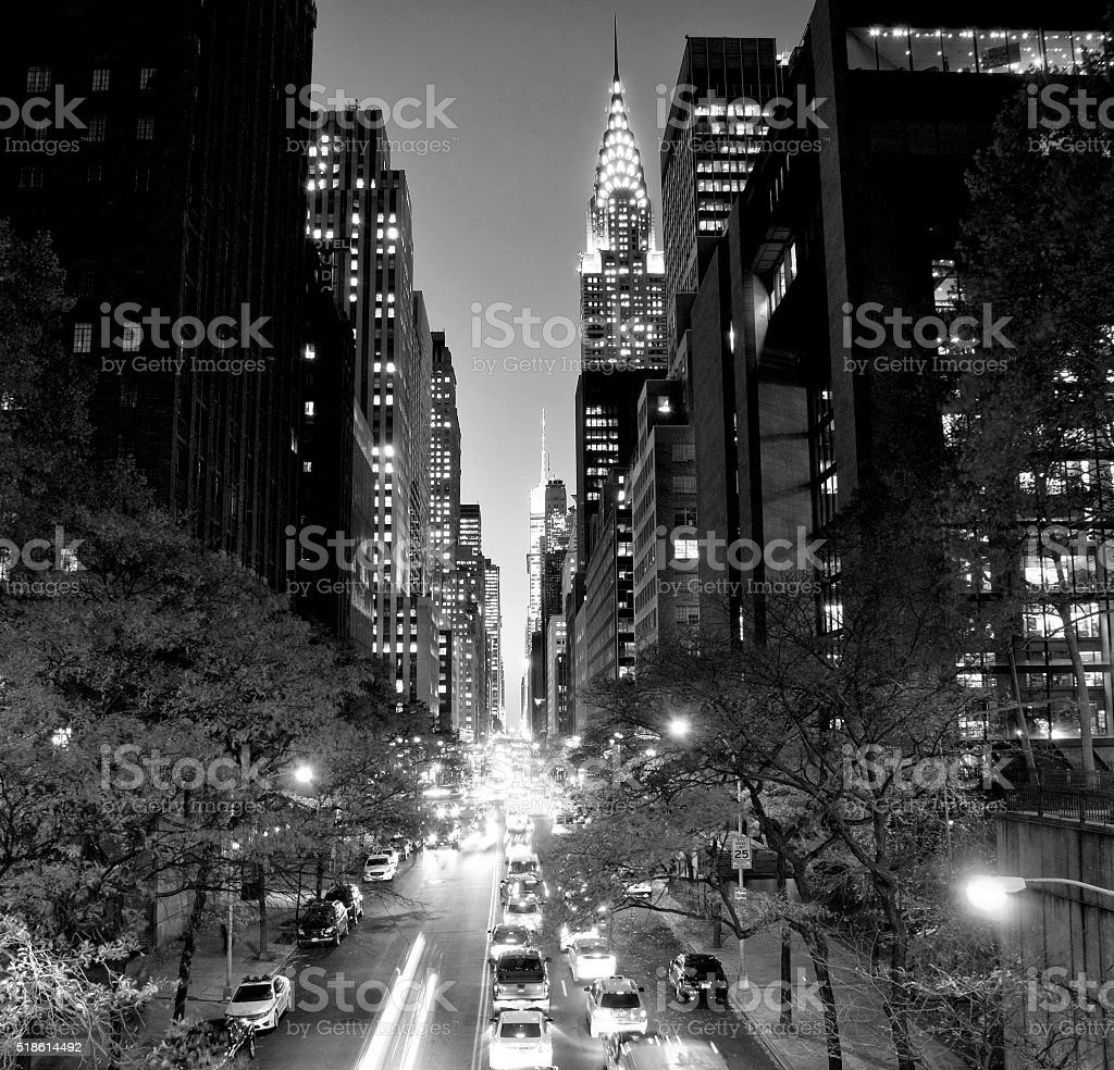 New York City buildings black and white stock photo