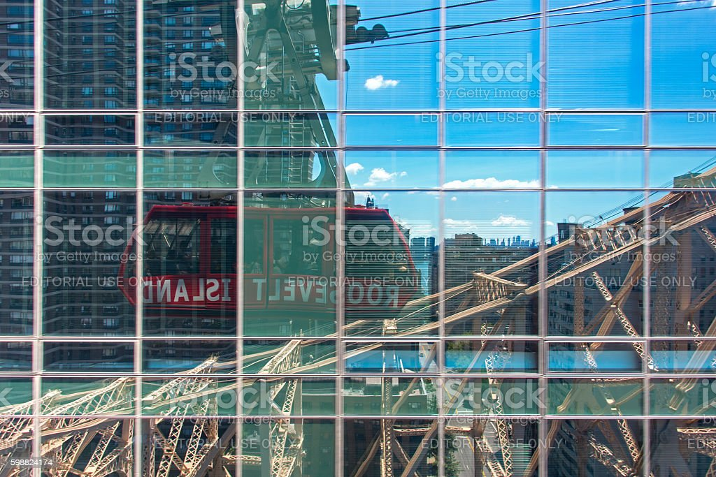 New York City cable car reflection stock photo