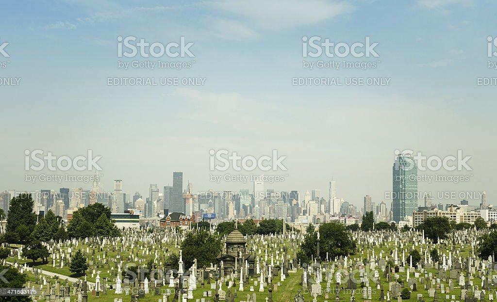 New york city calvary cemetery with skyline stock photo