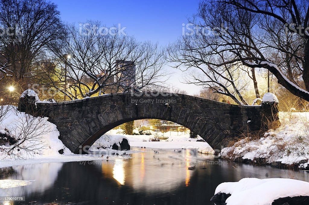 New York City Central Park bridge in winter royalty-free stock photo