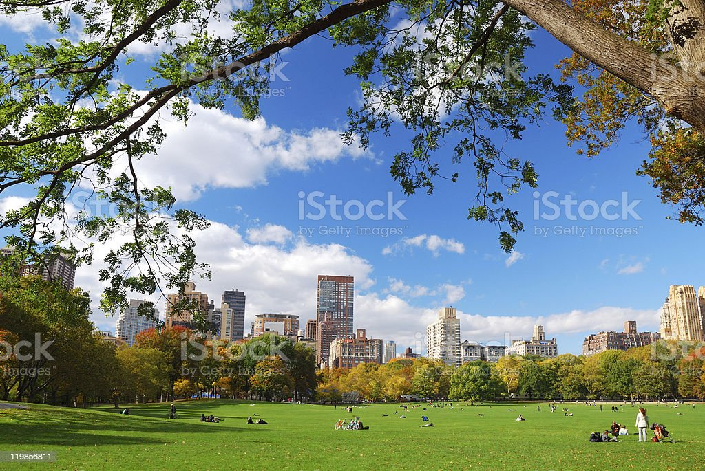 New York City Central Park with cloud and blue sky stock photo