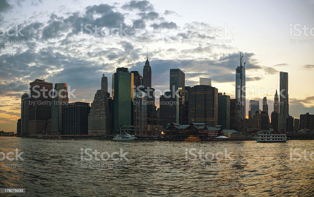 New York City cityscape at sunset royalty-free stock photo