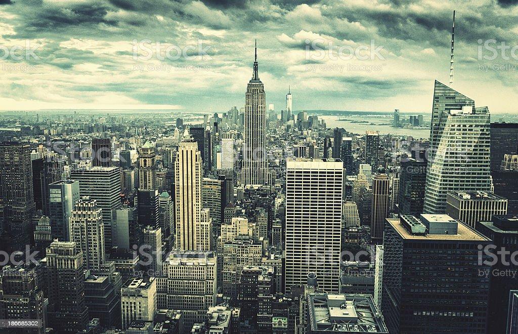 New York City cloudy skyline in Manhattan royalty-free stock photo