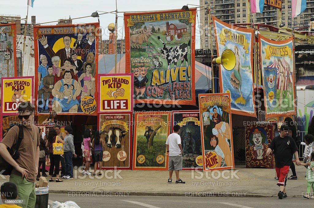 New York City Coney Island Freak Show Tourist Attraction stock photo