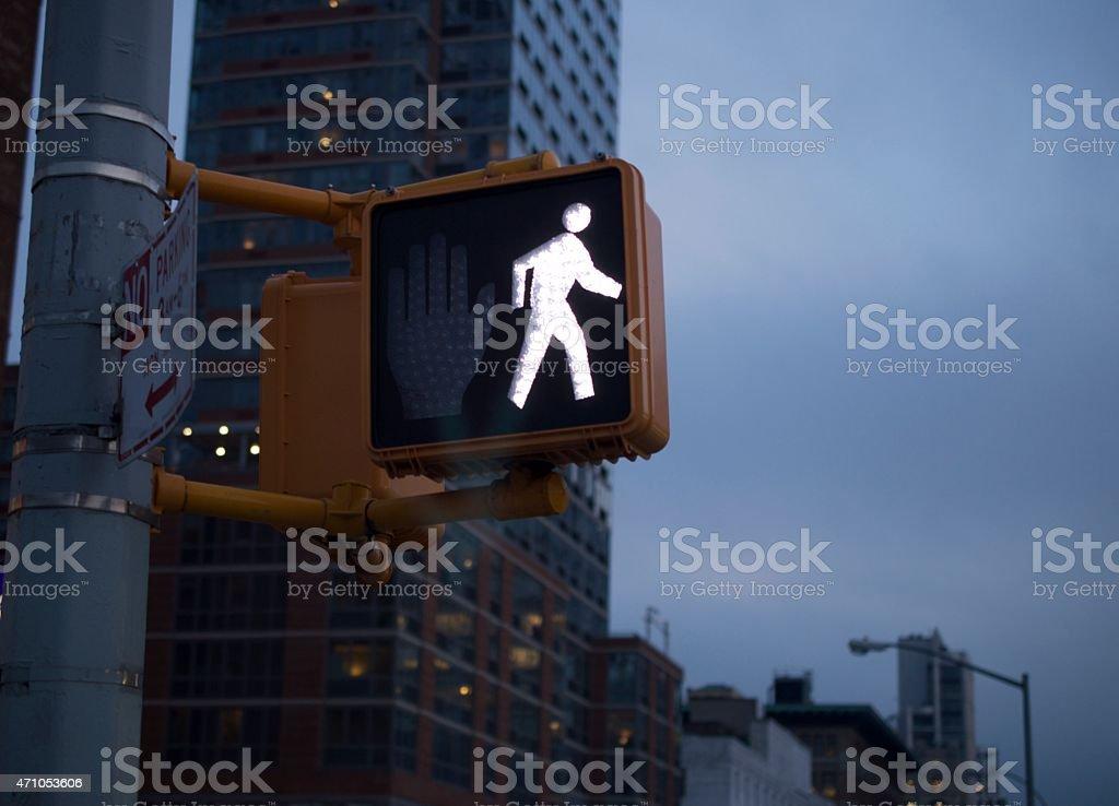 new york city crosswalk light stock photo