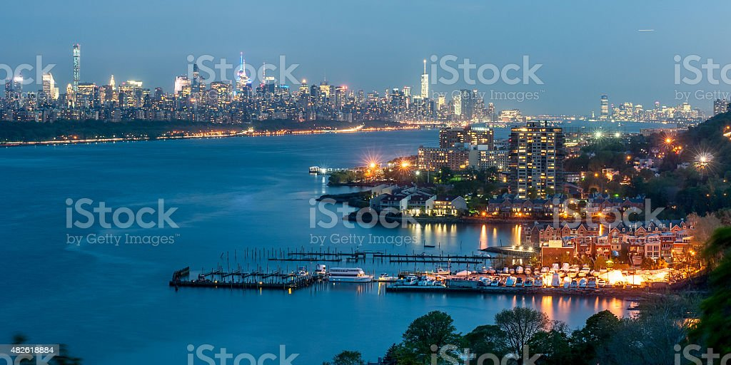 New York City downtown in twilight stock photo