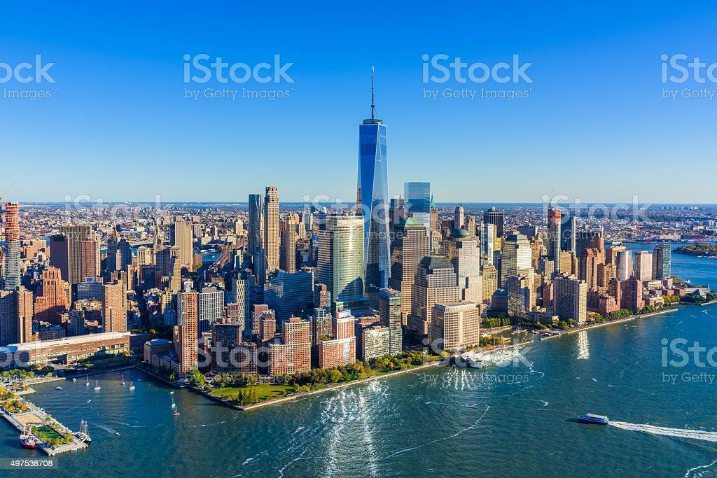 New York City Downtown Manhattan skyline Aerial view, Freedom Tower stock photo