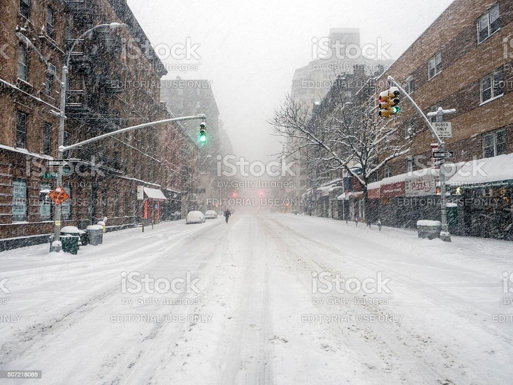 New York City during snow storm stock photo