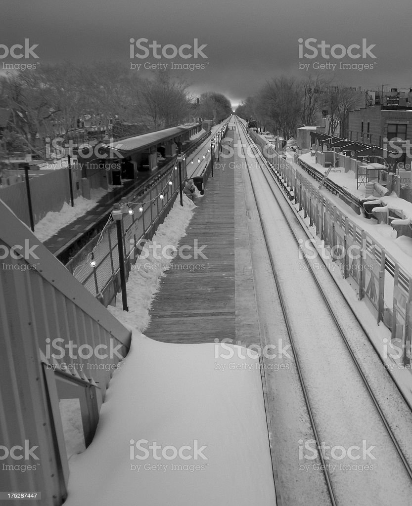 New York City - Elevated train platform in the snow royalty-free stock photo
