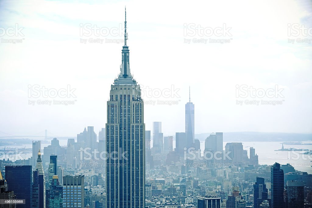 New York City Empire State Building One World Trade Center stock photo