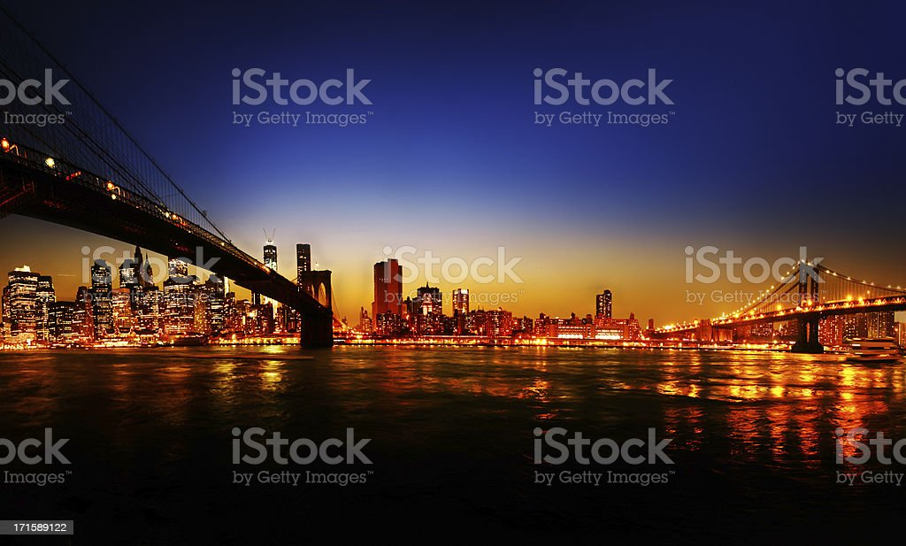 New York City Evening Skyline royalty-free stock photo
