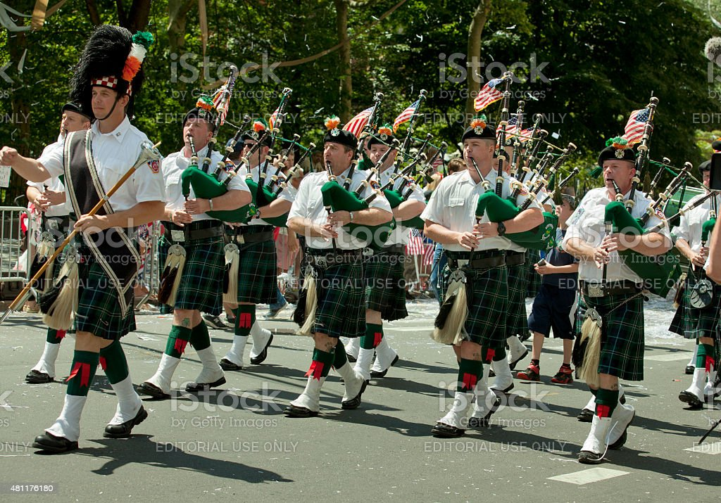 New York City Fire Department Bagpipe Marching Band stock photo