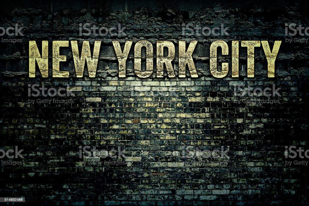 New York City Grungy Brick Wall stock photo