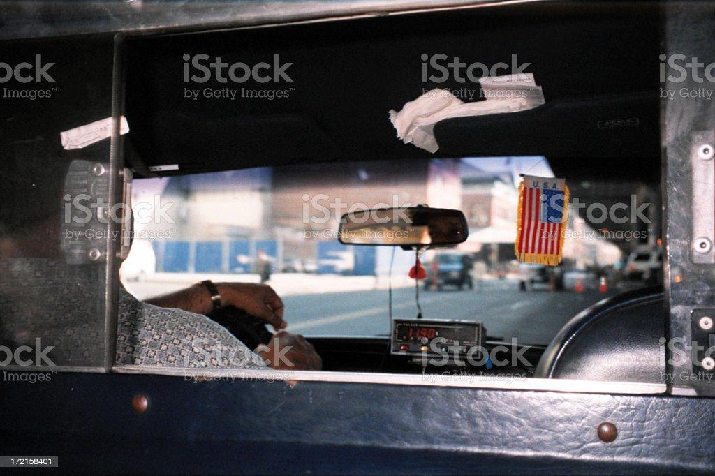New York City, inside a cab stock photo