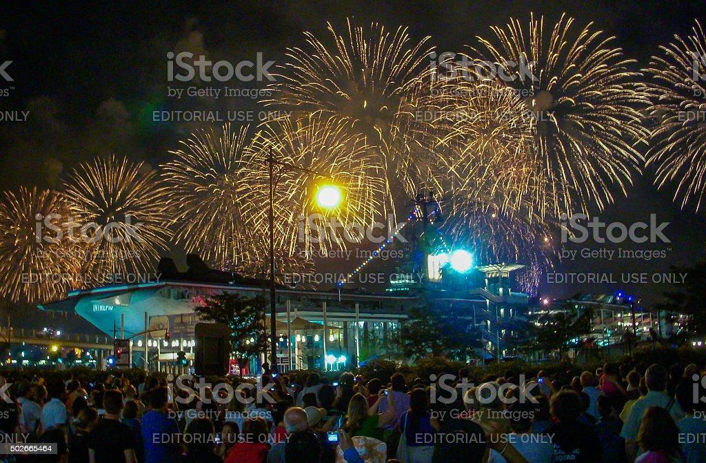 New York City - Intrepid Museum Fireworks stock photo