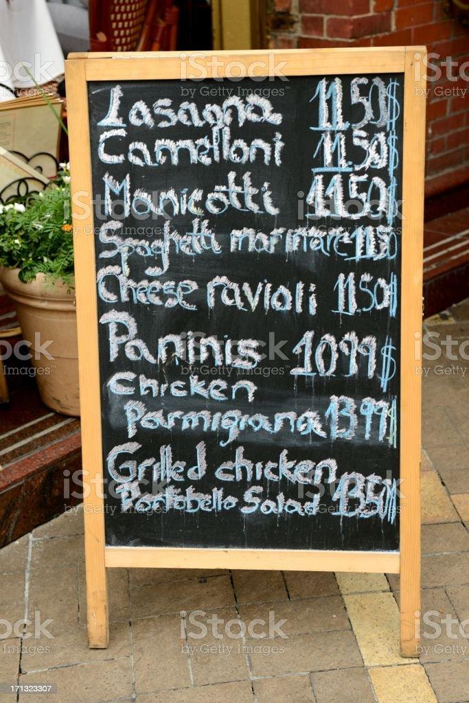 New York City Italian Lunch Menu stock photo
