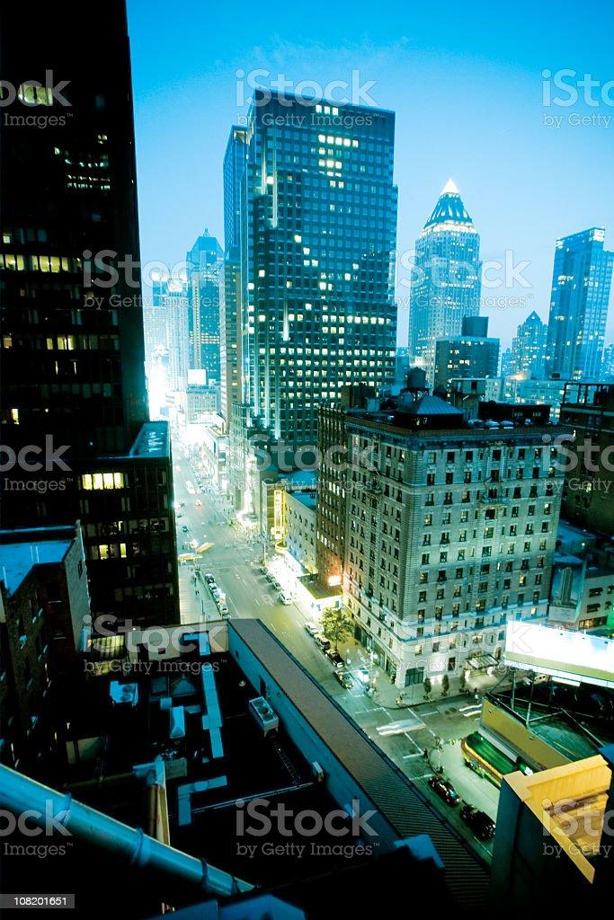 New York City Lights at Night royalty-free stock photo