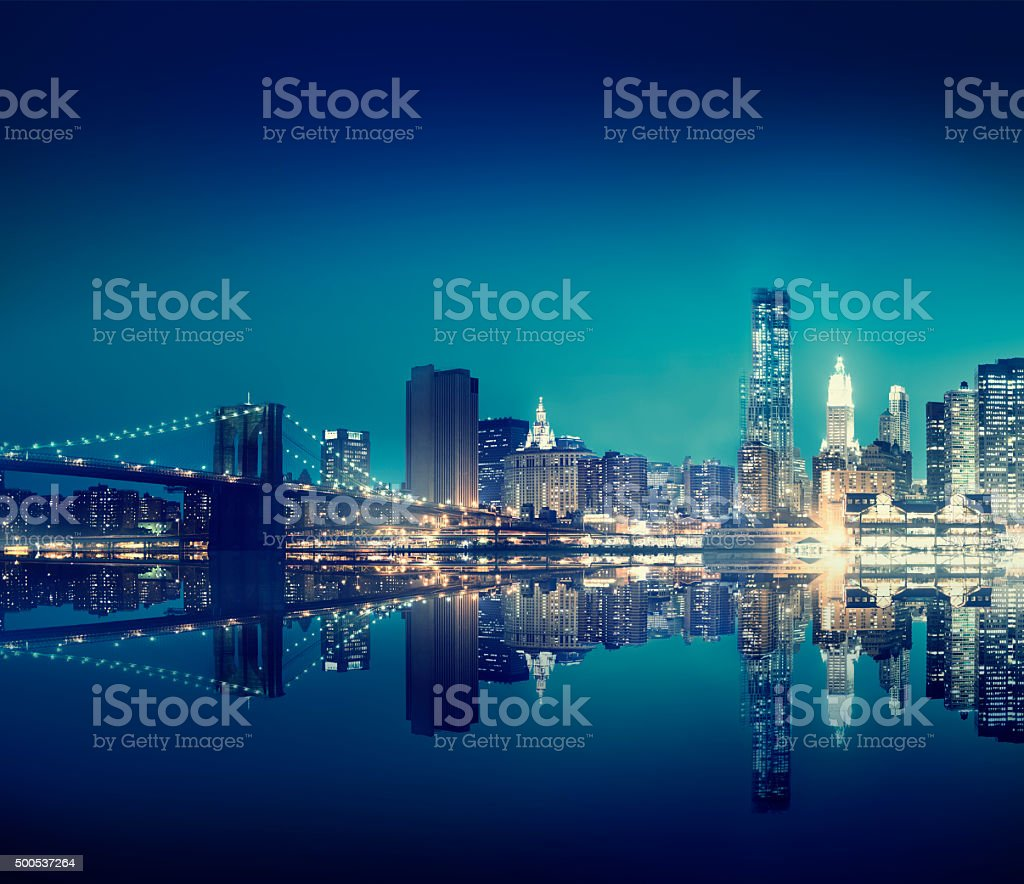 New York City Lights Scenic Bridge View Concept stock photo