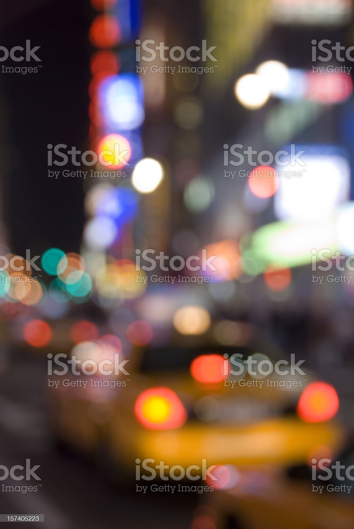 New York City Lights with Yellow Cab royalty-free stock photo