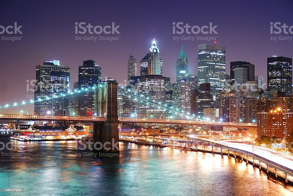 New York City Manhattan and Brooklyn Bridge royalty-free stock photo