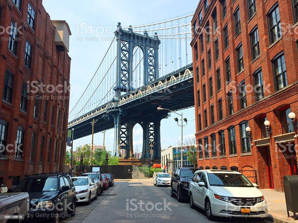 New York City Manhattan Bridge Empire State Building stock photo