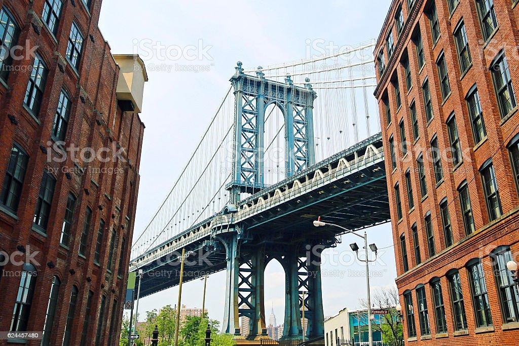 New York City Manhattan Bridge Empire State stock photo