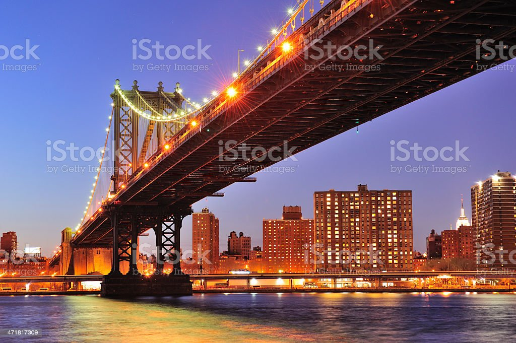 New York City Manhattan Bridge over East River royalty-free stock photo
